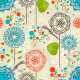 Retro garden seamless pattern, flowers and birds