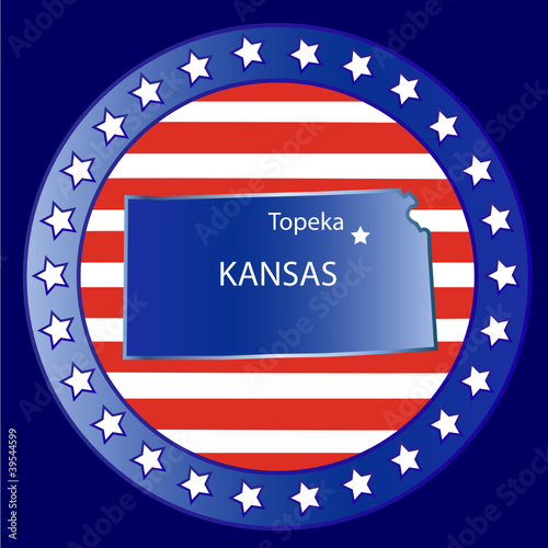 Kansas state map seal stamp usa