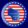 Wisconsin state map seal stamp usa