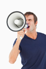 Megaphone held by a furious man