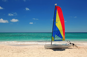 catamarran on the beach