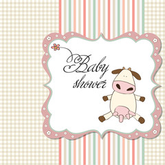 new baby girl card with cow