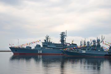 Warships in Kronshtadt port