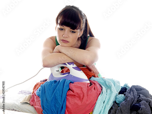 Young Woman Ironing. Model Released