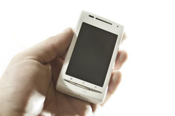 Hand Holding Cell-phone with Blank Screen
