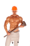 young and handsome construction worker with a sledgehammer