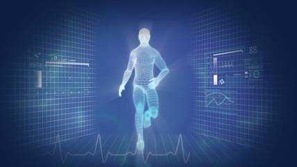 Digital Motion Graphic of Virtual Running Man