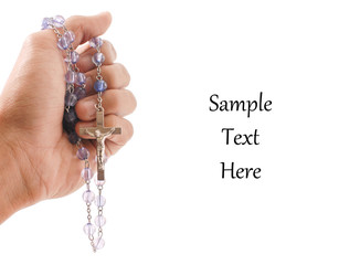 Hand with Religious Rosary with Space For Text