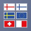 set von briefmarken bedruckt mit flaggen europa