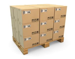 Kartons auf einer Transportpalette