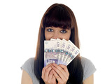 Young Woman Holding Cash. Model Released