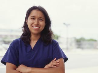 Female nurse outdoors