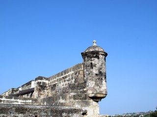 Cartagena walled city tower detail