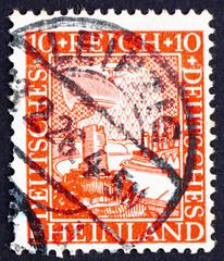 Postage stamp Germany 1925 German Eagle Watching Rhine Valley