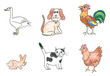Farm animals set, child's drawing.