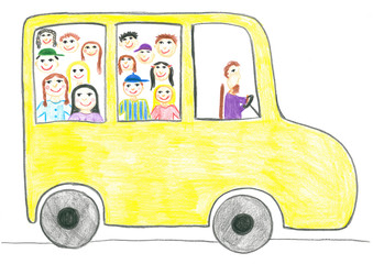 Child's drawing school bus.