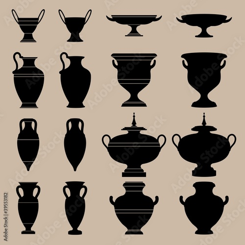 Antique vase. The silhouettes of ancient vessels.
