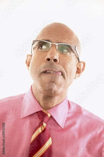 Close up of businessman concentrating