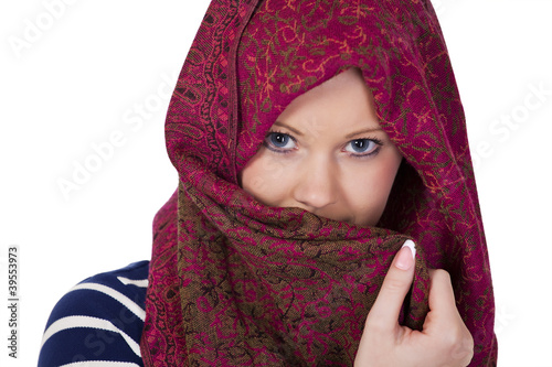 Woman in headscarf a face portrait