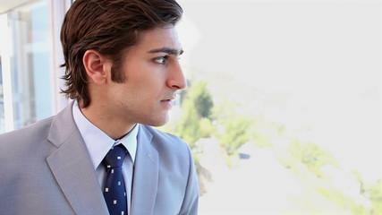 A businessman next to a window