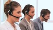 Call centre agents using headsets