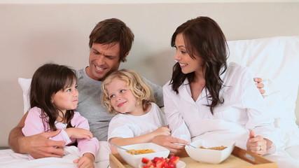 Family eating their breakfast