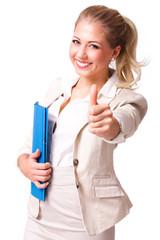 akktraktive junge Geschäftsfrau mit Daumen-Hoch-Geste