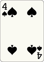 4 of Spades - vector illustration of a poker playing card