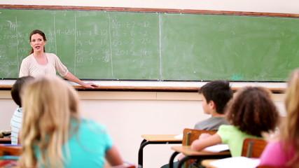 Peaceful teacher asking a question