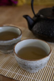 Green tea in a ceramic teacups