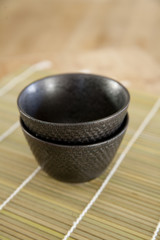 Black ceramic teacups