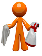 Orange Man sanitarne Pracownik Spray Butelka i Cloth