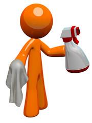 Orange Man Sanitation Worker Spray Bottle and Cloth
