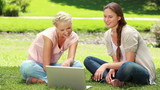 Two women sit on the grass as they use a laptop together