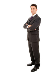 young business man full lenght isolated on white background