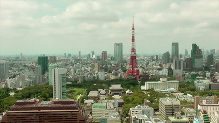 Tokyo Tower and downtown skyline, time lapse