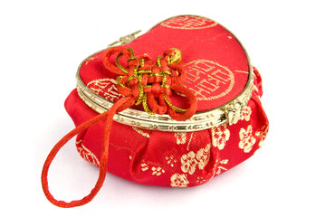 Chinese silk box in the shape of a heart isolated
