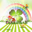 St. Patrick's Day card design with clover and coin