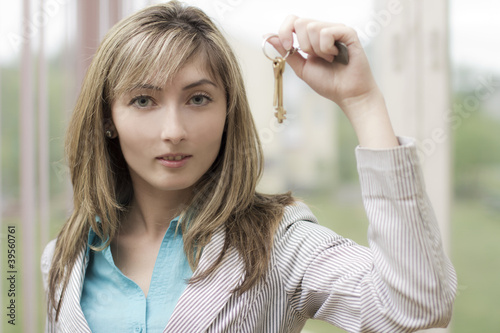 The young woman has control over keys