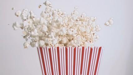 Popcorn falling in super slow motion