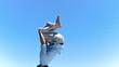 Man making a back-flip in slow motion