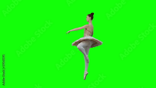Brunette  in slow motion dancing a classical ballet