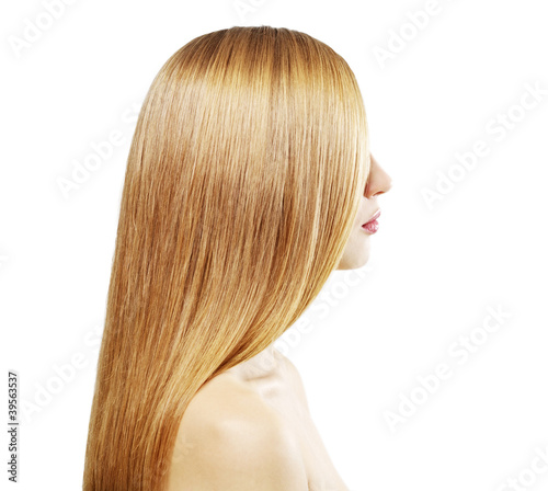 Girl with beautiful straight hair isolated on white