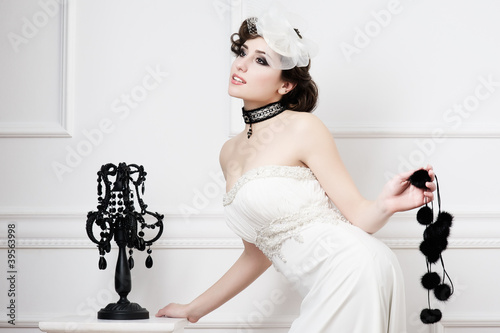 Portrait of beautiful retro bride