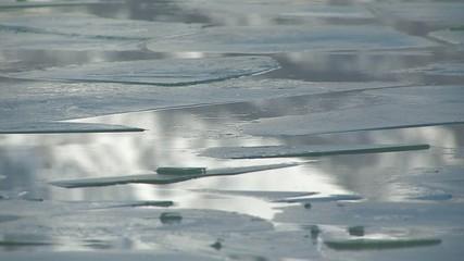 Floating ice on Towada Lake,in Aomori,Japan
