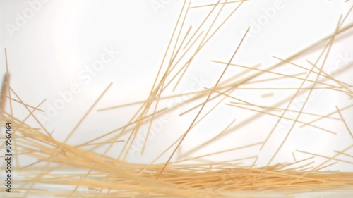 Spaghetti falling down in super slow motion