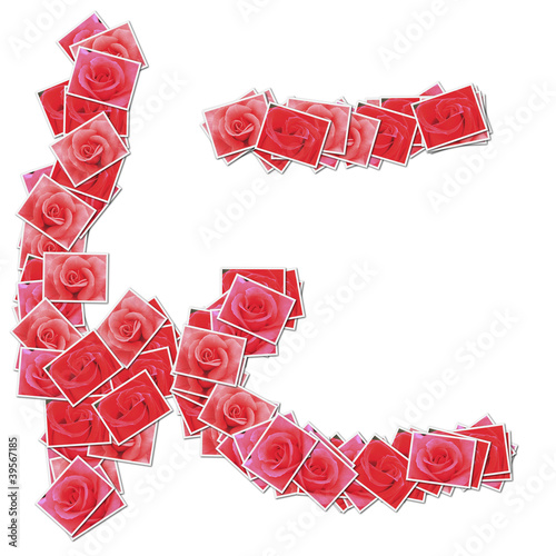 Japanese Characters hiragana, made from rose photo.