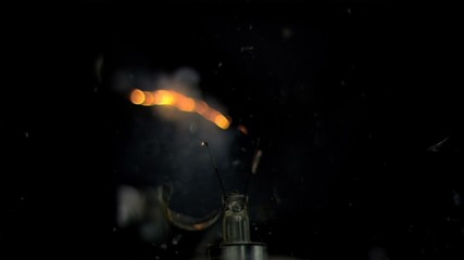 Activated bulb getting crushed in super slow motion