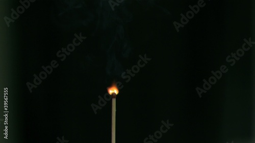 Matchstick burning in super slow motion