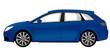 blue station wagon isolated on white